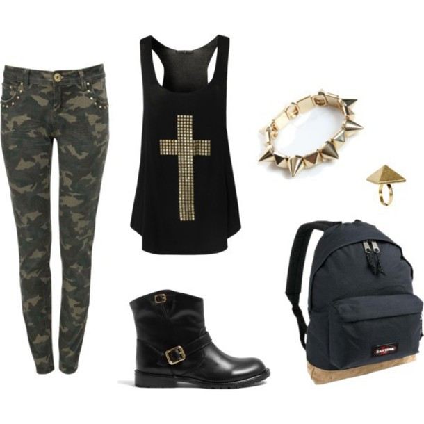blouse tank top cross black gold studded edgy