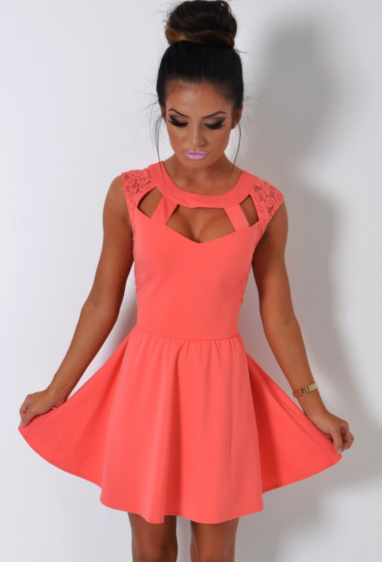 Trouble maker coral cage cut out lace skater dress
