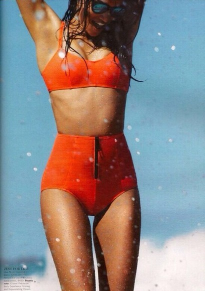 victoria's secret swimwear shanina shaik, high waisted