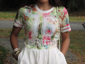 shirt floral crop tops sportswear white t-shirt clothes