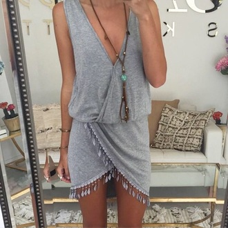 dress grey dress tassel vneck dress wrap dress