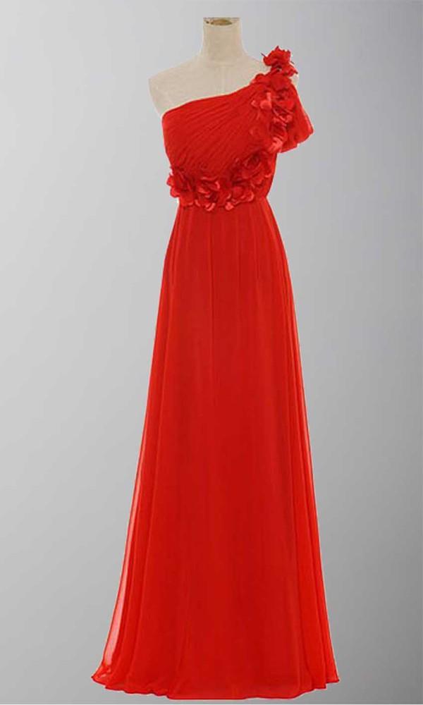 floral shoulder off the shoulder dress one shoulder dresses red dress empire waist dress celebrity style long prom dress