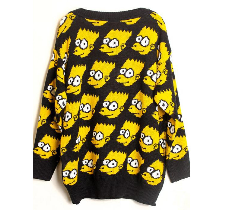 Fashion Bart Simpson Pullover winter warm  sweater women clothing Cartoon sweatautumn character sweater loose knitwear-in Pullovers from Apparel & Accessories on Aliexpress.com