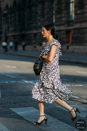 dress,floral dress,midi dress,sandal heels,bag