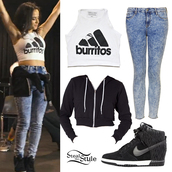 shoes,burittos,becky g,wedge sneakers,nike wedges,jeans,jacket,sweater,hoodie,shirt,crop top sweater,ombre pants,white shirt,black sweater