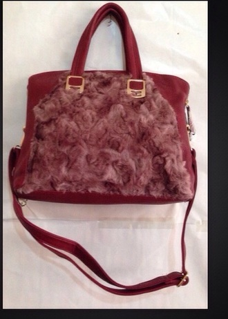 belt ladies faux fur handbag