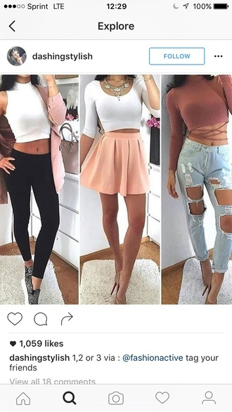 white top crop tops black leggings pink skirt mini skirt high waisted jeans ripped jeans red top long sleeves statement necklace sneakers nude heels date outfit ootd