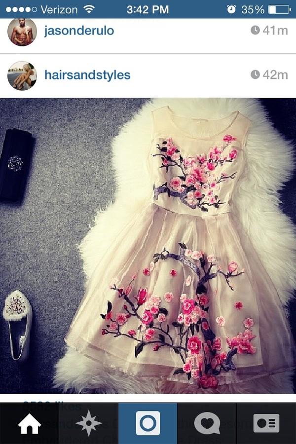 dress white dress brown pink popout