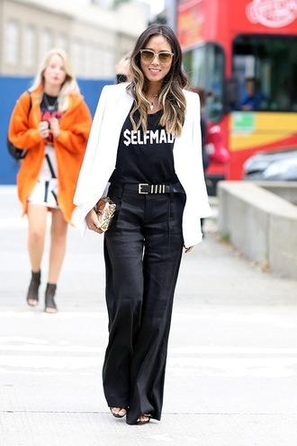 le fashion image blogger sunglasses jacket t-shirt pants jewels