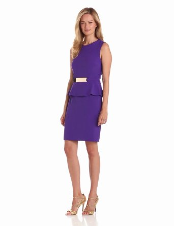 Amazon.com: Sandra Darren Women's Sleeveless Dress With Peplum: Clothing