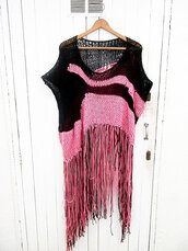 sweater,cardigan,wonder woman,handmade,knitted sweater,print,fringes
