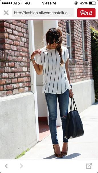 shirt white white top black and white stripes top black t-shirt