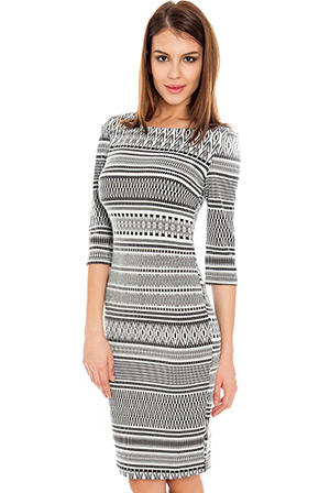 Tribal Print Three Quarter Sleeve Day Dress