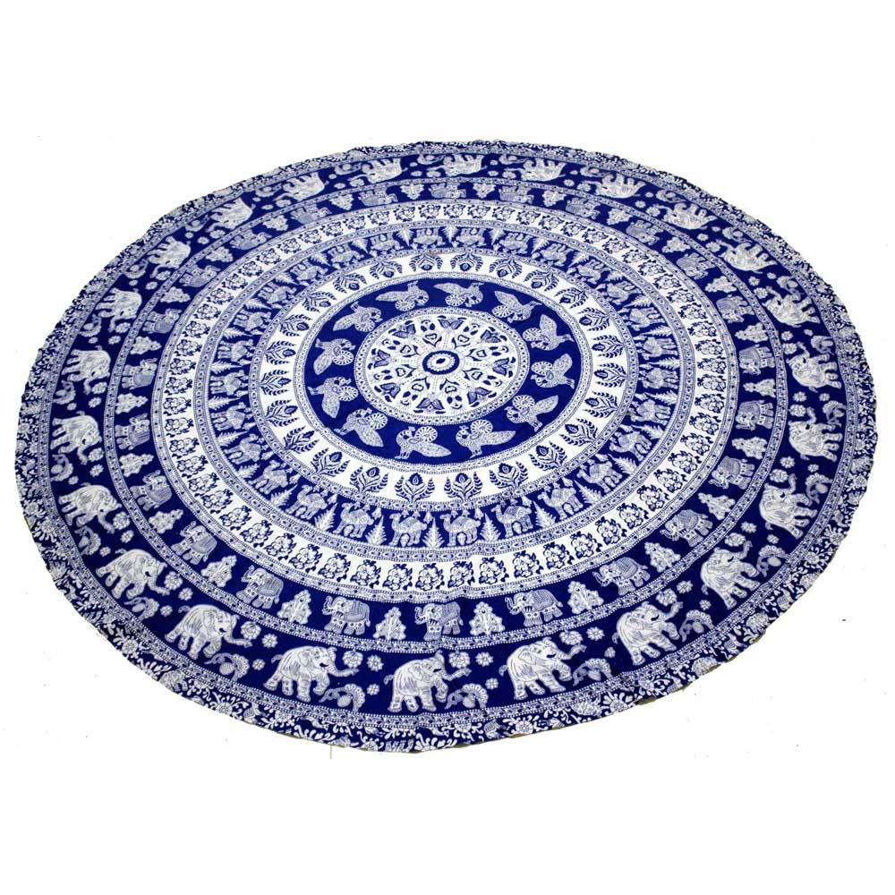 Indian Screen Print Decoration Mandala Round Table Cover Tapestry