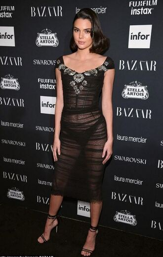 dress kendall jenner sandals model kardashians see through midi dress black dress nyfw 2017 ny fashion week 2017