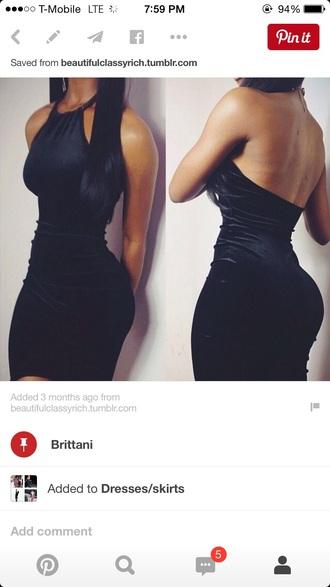 dress black dress little black dress velvet dress halter dress