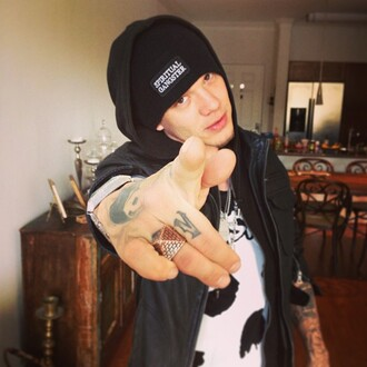 shirt chris rene cow watch ring hat tattoo x factor singer hood cap menswear guys black v neck black and white jacket beanie necklace hoodie jewelry