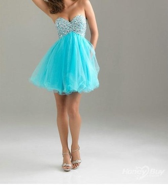 dress sky blue short dress prom dress
