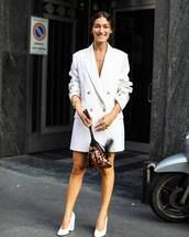 dress,white dress,blazer dress,long sleeve dress,pumps,handbag,hand jewelry