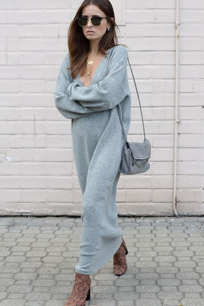 Dress: maxi knit dress, tumblr, maxi dress, knitted dress, grey ...