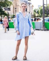 dress,shirt dress,flat sandals,crossbody bag,stripes,casual