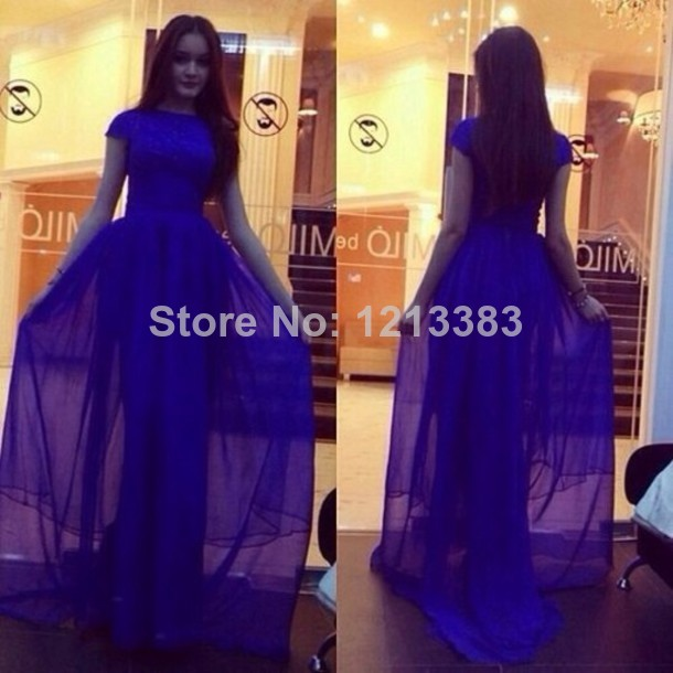 Aliexpress.com : Buy Fast Shipping Long Sheer Chiffon High Neck Pageant Party Gowns Elegant Royal Blue Short Sleeve Prom Dresses 2014 from Reliable gown evening dress suppliers on Clover Dresses