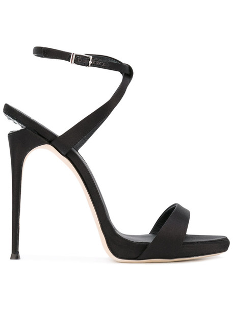 GIUSEPPE ZANOTTI DESIGN women sandals leather black silk shoes
