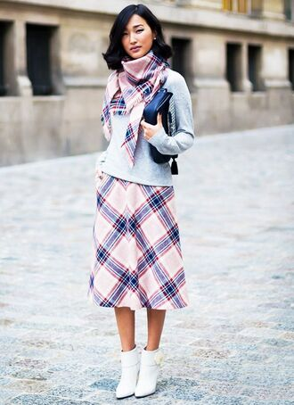 shoes white plaid scarf white plaid skirt blue leather jacket white ankle boots blogger