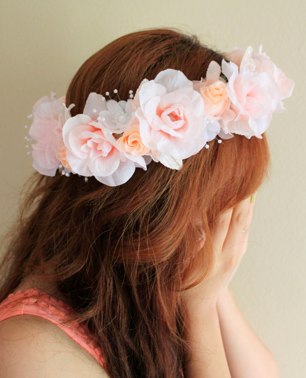 Pink Flower Crown Orange Flower Crown Bridal Flower Crown