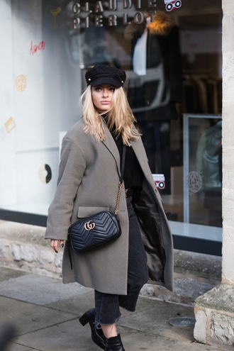 coat tumblr curvy plus size grey coat bag black bag gucci gucci bag chain bag quilted quilted bag hat black hat fisherman cap jeans grey jeans cropped jeans boots ankle boots black boots