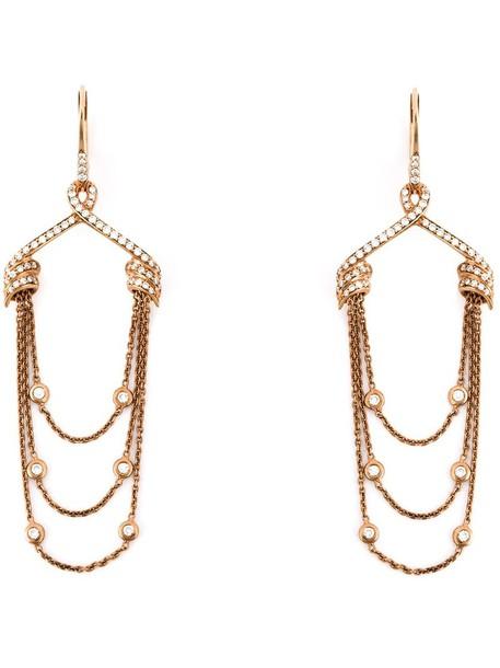 Stephen Webster women draped earrings gold purple pink jewels