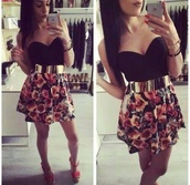 dress,belt,floral skirt,flowers,print,red,green,pink,black,gold,t-shirt,crop tops,tank top,top,shirt,bralette,bustier,bra,skater,skater skirt,sleeveless,summer outfits,high heels,high waisted,high waisted skirt,heels,pumps,platform shoes,jewels,make-up,hipster,hippie,party,sexy,classy,fashion,lipstick,hot,cute,outfit,streetwear,streetstyle,evening outfits,floral skater skirt,skirt,flowers skirt,mini skirt,glamour,style,corset,corset top,gold belt dress,gold belt,belted dress,floral dress,black dress,strapless,strapless dress short dress,floral,prom dress,short prom dress