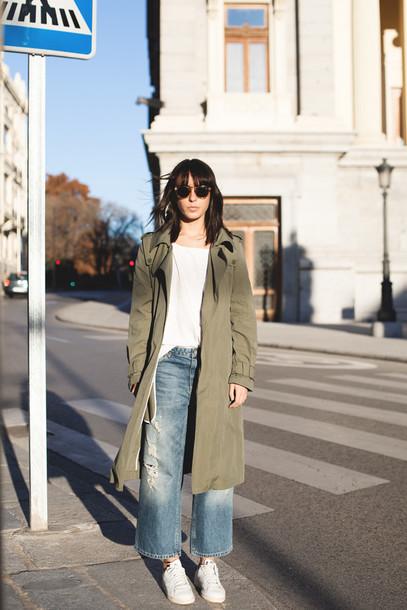 lucitisima blogger coat jeans sunglasses shirt