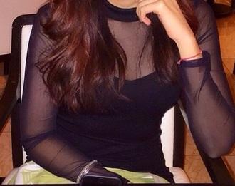 dress little black dress sheer sleeves