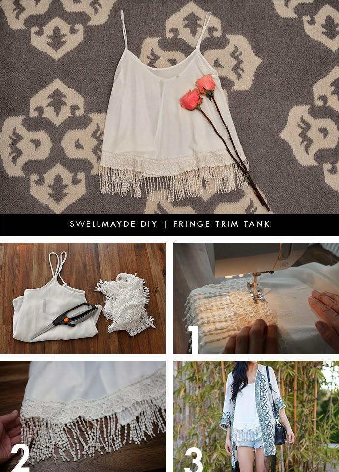 swellmayde: DIY | FRINGE TRIM TANK