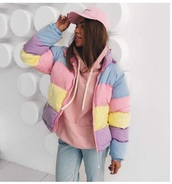 jacket,girly,tumblr,puffer jacket,colorful,colorblock,zip,zip up jacket,tumblr girl,coat,puffy,zip-up,pink,yellow,blue,violet