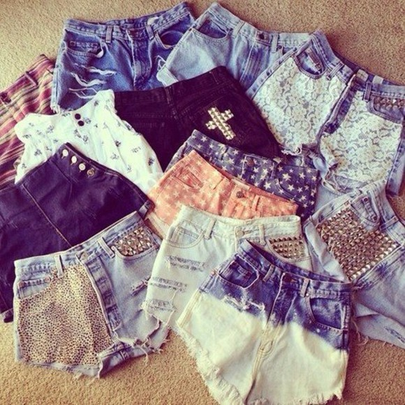shorts denim spikes studs distressed shorts lace shorts tribal print stars