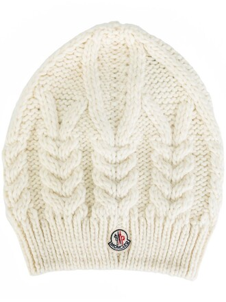 knit women hat beanie white wool