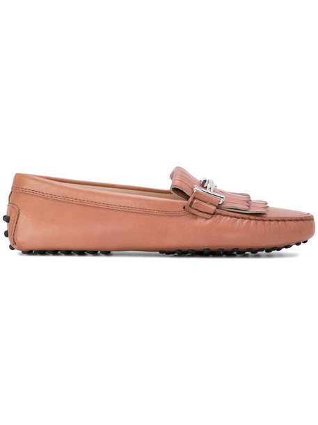 TOD'S women loafers leather nude shoes
