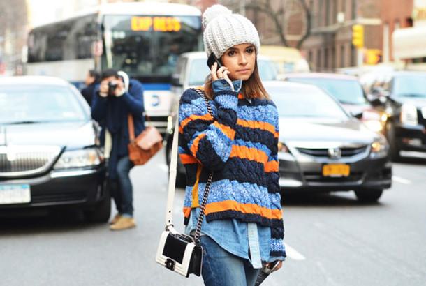Sweater: stripes, orange, blue - Wheretoget