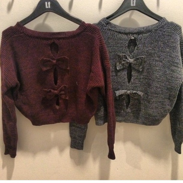 Sweater: bows, cropped sweater, crop tops, bow back, knitwear ...