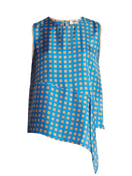 Diane Von Furstenberg top sleeveless print silk blue