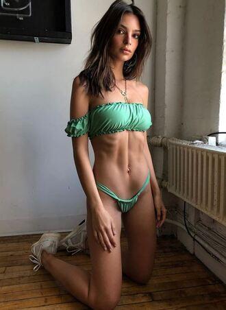 swimwear bikini bikini top bikini bottoms emily ratajkowski model off-duty instagram
