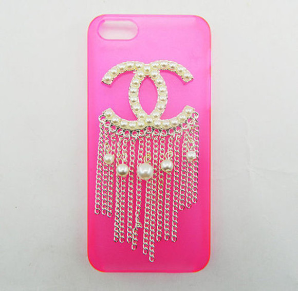 pearl chanel pink phone case iphone 5s coach dangly