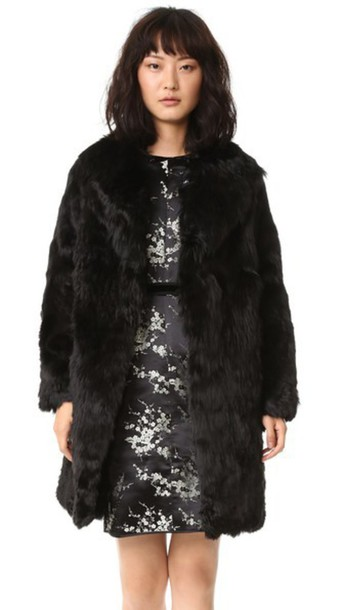 Marc Jacobs Alpaca Fur Coat - Black