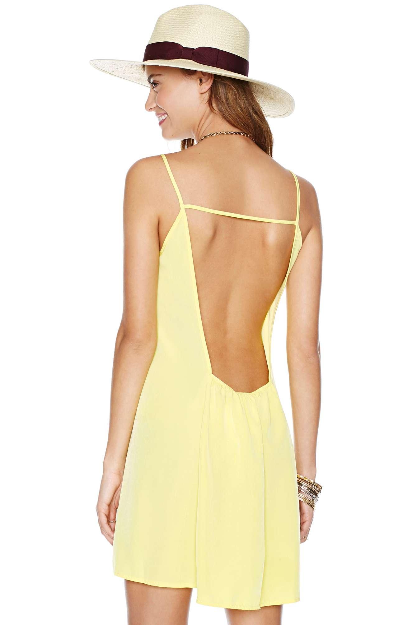 Yellow Deep V-neckline and Square Cutout Back Dress - Sheinside.com