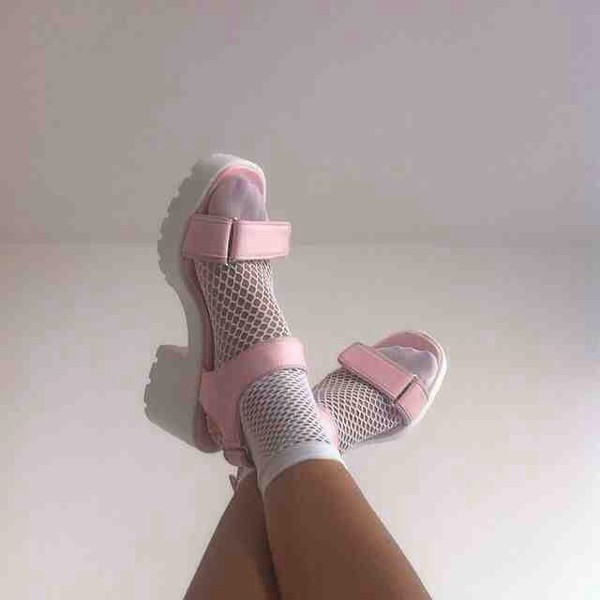 shoes pink white soft grunge kawaii grunge kawaii mesh socks fashion tumblr pastel pastel pink cute socks and sandals pink sandals pastel goth platform shoes sandals tights white sandals platform sandals pink platform sandals pink straps white heels strappy mid heel sandals light pink