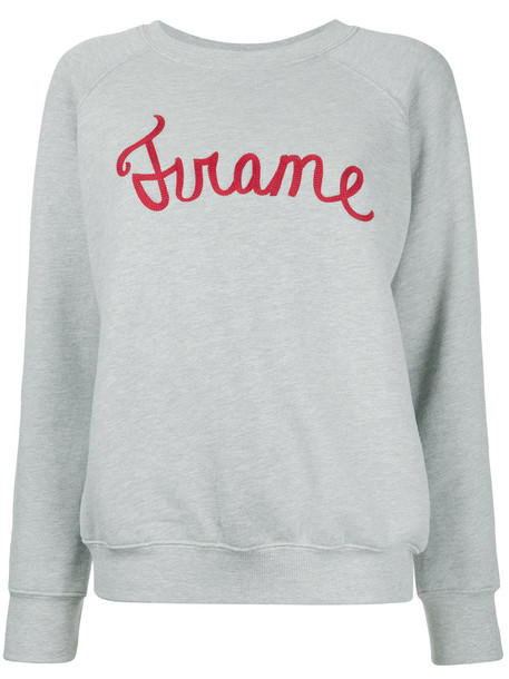 Frame Denim - logo print sweatshirt - women - Cotton/Polyester - S, Grey, Cotton/Polyester
