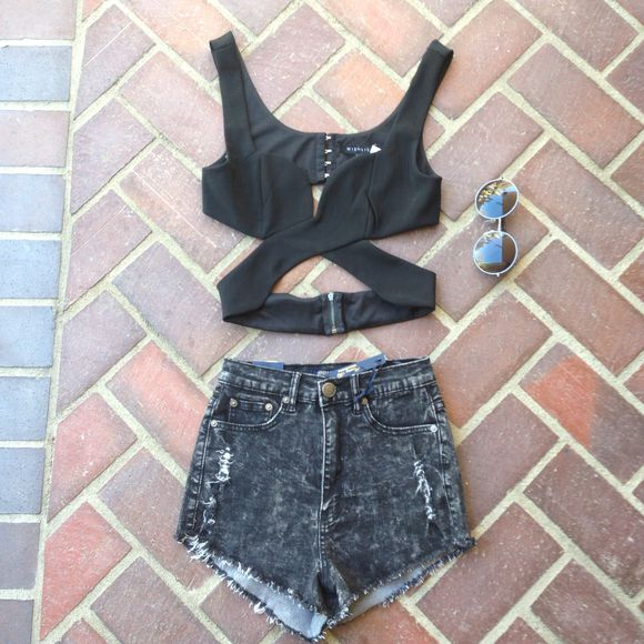 shirt shorts cut-out black sexy denim summer hot retro round sunglasses round lenses beautiful top high waisted short tank top black crop top crop tops black top black wrap crop top high waisted denim shorts black high waisted pants black, pants, shorts, high waisted,
