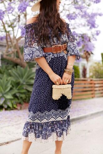 dress belt bag midi dress tumblr blue dress off the shoulder off the shoulder dress jewels